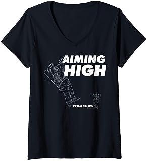 Femme Netflix Space Force Aiming High From Below T-Shirt avec Col en V