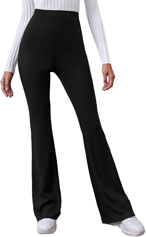 WDIRARA Women's Stretchy Wide Flare Leg Pants High Waist Casual Ribbed Knit Long Pants