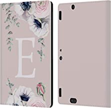 Official Nature Magick Letter E Floral Monogram Pink Flowers Leather Book Wallet Case Cover Compatible for Amazon Kindle Fire HDX 8.9