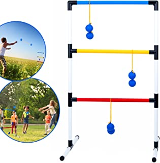Ideas In Life One Piece Ladder Ball Game Set - Indoor and Outdoor Games for Adults and Kids – Hillbilly Golf Backyard Toys Ladder Golf Toss Game and 3 Bolas
