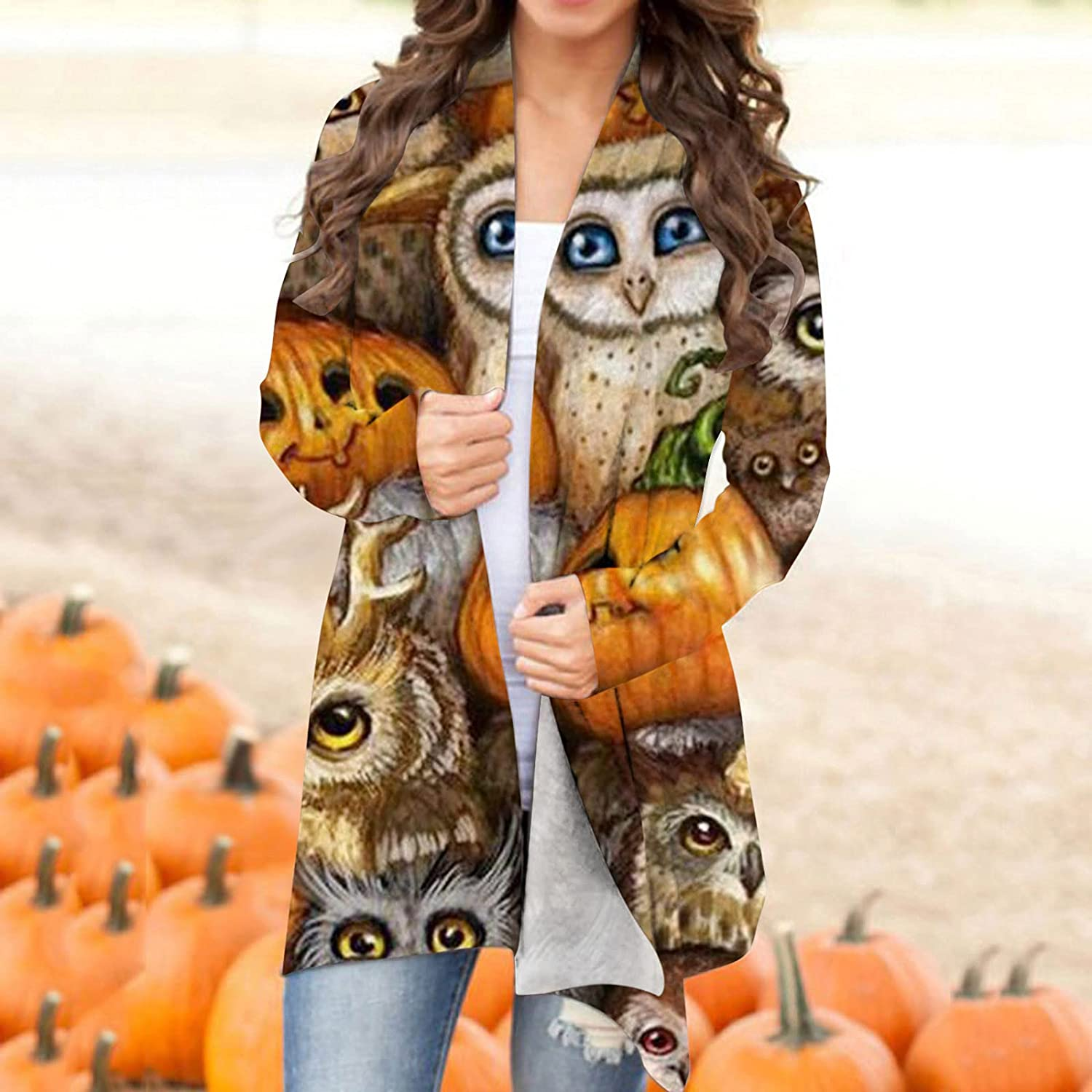 UOCUFY Womens Lightweight Cardigans, Womens Halloween Funny Pumpkin Ghost Printed Coat Long Sleeve Open Front Top