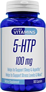 5-HTP 100mg – 180 Capsules – 6 Month Supply - 5HTP Supplement – Help Support Stress Levels, Sleep Patterns, and Improved M...