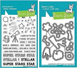 مجموعة أختام شفافة Lawn Fawn Super Star 10.16 سم × 15.24 سم ومجموعة قوالب يدوية متناسقة (LF2241، LF2242)، حزمة مكونة من قط...