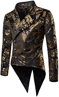 Mens Blazer Slim Pattern Gold Suit Fit Men Coat Comfortable Sizes for Wedding and Party Business Casual Jacket Button Suit...