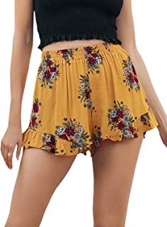 da3e114f9 Simplee Women's High Waisted Casual Shorts Summer Boho Floral Print Elastic  Shorts