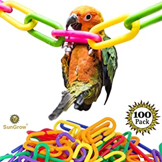 Plastic Chain Links (100 pc) - Lightweight & Durable DIY Pet Toy for Parakeets, Rats & Sugar Gliders - Variety Pack of 6 Vibrant Colors - Interchangeable C-Clip Hooks Great for Classroom or Playroom