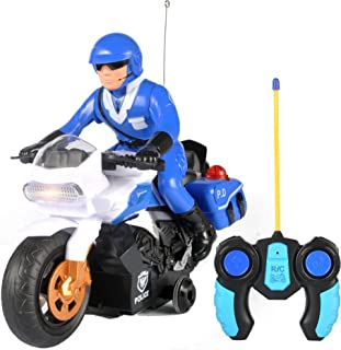 Liberty Imports RC Police Patrol Motorcycle with 360 Degree Rotation - 2CH Remote Control Cop Motor Bike for Kids, Toddlers
