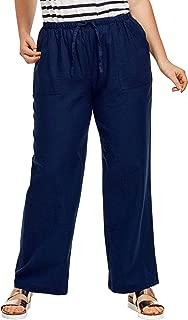 Women's Plus Size Linen Blend Drawstring Pants