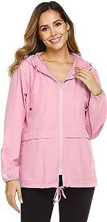Besshopie Rain Jackets for Women, Lightweight Zip Up Hiking Travel Cycling Hooded Waterproof Raincoat