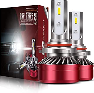 HB4 9006 LED Headlight Bulbs All-in-One Conversion Kit,DOT Approved TURBO SII D6 Series CSP Chips Low Beam Fog Light Bulb With Fans Sets Red - 6000LM 6000K Cool White