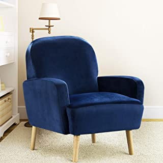 Bonzy Home Accent Chair - Modern Upholstered Armchair for Living Room - Fabric Single Sofa Chair with Wood Legs (Blue)