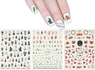 ALLYDREW 3 Sheets Succulent Plants & Wreaths Nail Art Succulent Plants & Wreaths Nail Stickers