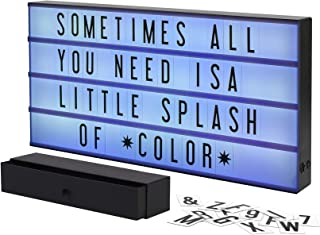 My Cinema Lightbox - XXL Marquee Color-Changing Lightbox with 160 Letters, Numbers to Create Signs, with Pure White LED Light, RGB Color Change and Color Freeze Mode, Letter Storage Box, Battery or DC