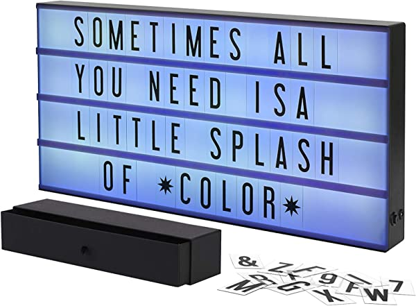 My Cinema Lightbox XXL Marquee Color Changing Lightbox With 160 Letters Numbers To Create Signs With Pure White LED Light RGB Color Change And Color Freeze Mode Letter Storage Box Battery Or DC