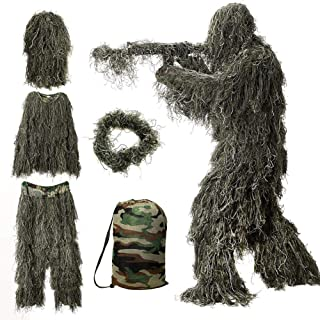 JOZTA 5 in 1 Ghillie Suit, 3D Camouflage Hunting Apparel Camouflage Camo Tactical Hunting Forest Woodland Ghillie Suit for Unisex Kids/Youth