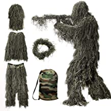 MOPHOTO 5 in 1 Ghillie Suit, 3D Camouflage Hunting Apparel Including Jacket, Pants, Hood, Carry Bag Suitable for Unisex Ad...