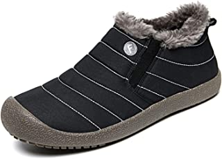 Waterproof Snow Sneakers Boots Fur Lined Ankle High-Top Outdoor Slip-on Booties Anti-Slip Winter Shoes for Womens Mens