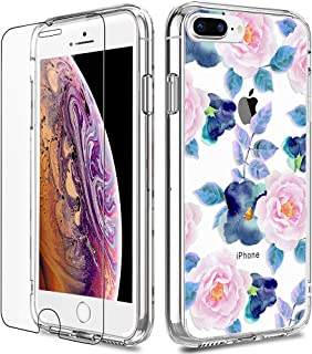 iPhone 7 Plus Case, LUHOURI Clear iPhone 8 Plus Case with Screen Protector, Girls Women Protective Hard Case with Slim Fit...