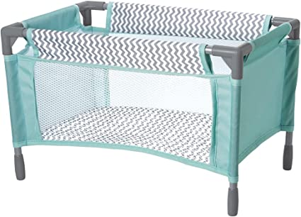 Amazon Com Adora Baby Doll Crib Gender Neutral Zig Zag Designed Playpen Bed Toy With Carry Bag For Baby Dolls Up To 16 Inches 218603 Toys Games