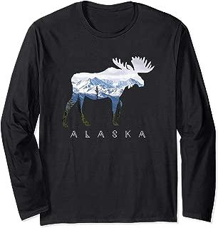 Alaska Day Moose Snowy Mountain Long Sleeve Shirt