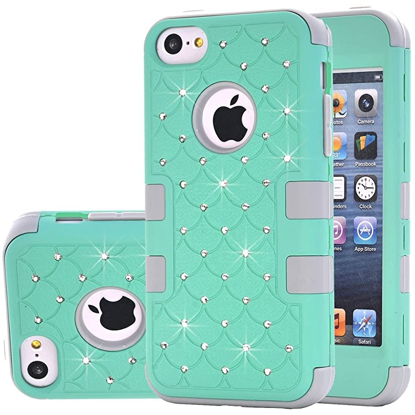iPhone 5C Case,Auker Heavy Duty Dual Layer Bling Mermaids Scales Shockproof Impact Resistant Non Slip PC Rubber Hybrid Protective Tough Silicon Bumper Case Cover for iPhone 5C for Women/Men (Mint)