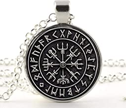 Viking Compass Pendant, Jewelry, Glass Cabochon Necklace