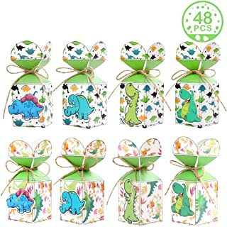 PartyTalk 48pcs Dinosaur Party Favor Bags 3D Dinosaur Gift Bags for Kids Birthday T-rex Roar Dinosaur Themed Baby Shower Dino Party Decorations with Dinosaur Stickers
