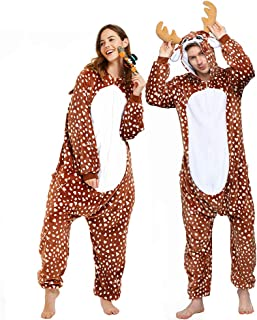 Reindeer Onesie Women Deer Pajama Adult Halloween Costume Men Christmas
