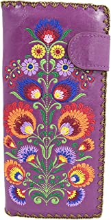 Lavishy Colorful bohemian flower arrangements Embroidered Beautiful Large Wallet