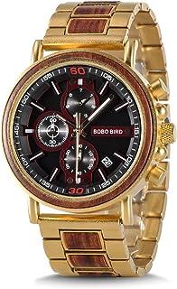 BOBO BIRD Wood Watch Handmade Luminous Wooden Wrist Watch Lightweight Quartz Movement Date Wristwatch for Men
