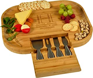 Custom Personalized Engraved Bamboo Cheese/Charcuterie Cutting Board with Knife Set & Cheese Markers- Designed & Quality Checked in USA