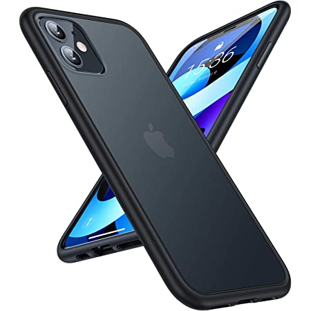 TORRAS iPhone 11 用 ケース 2021年新型 半透明 超 米軍MIL規格取得 マット感 SGS認証 黄ばみなし レンズ保護 ストラップホール付き 6.1インチ アイフォン 11用カバー ブラック