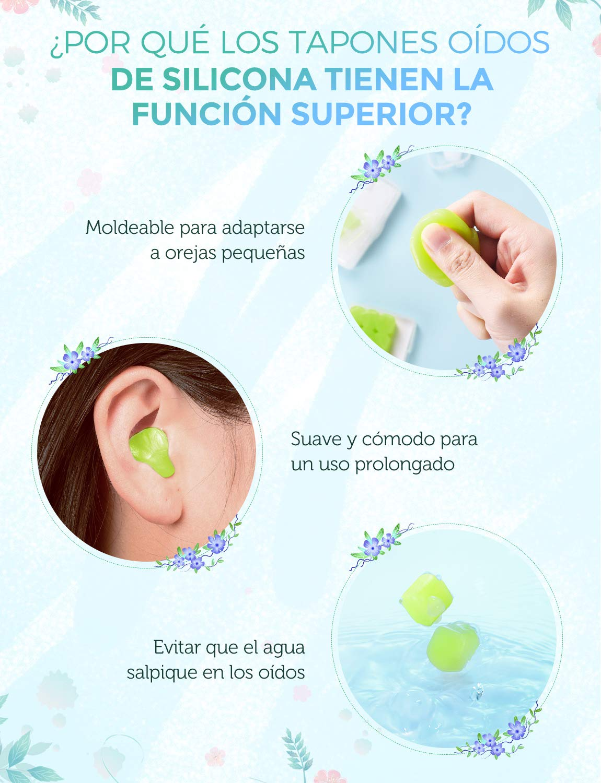 Mpow (20 Pares) Tapones de Silicona para los Oídos 28dB SNR, para ...
