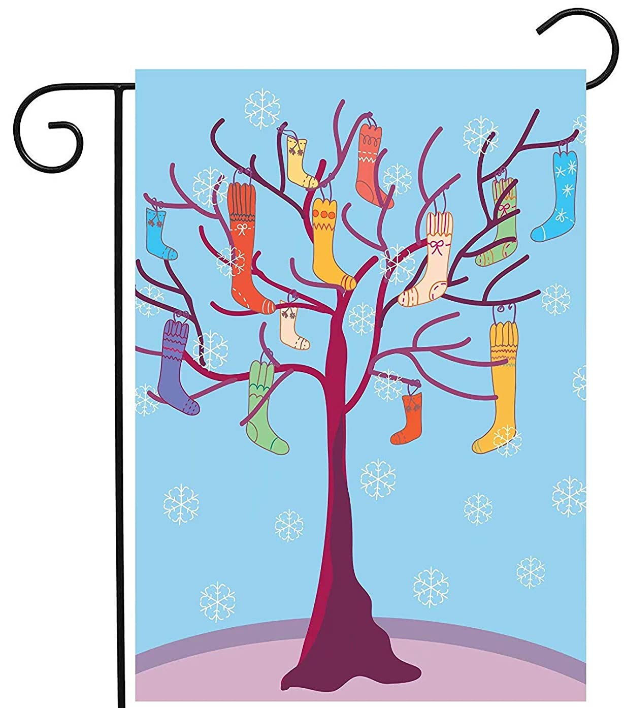 Jagfhhs Custom Garden Flag Winter Christmas Funny Tree with Socks and Snowflake Yard Seasonal Outdoor Banner Decoration Two Sides