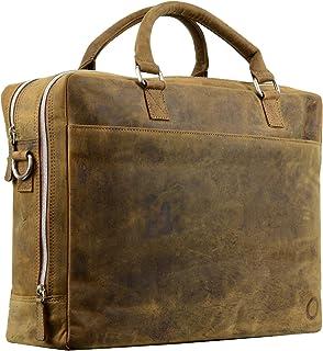 (Reddish Brown) - Mens Leather Messenger Briefcase Shoulder Laptop Satchel Bag Crossover Crossbody