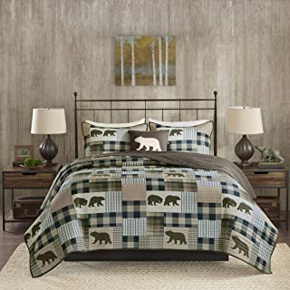 4 Piece Oversized Brown Blue White King/ Cal King Quilt Set, Patchwork Pattern Bedding Tartan Plaid Themed Checkered Bear Mountain Winter Cozy Stylish Cabin Lodge Cottage Trendy Animal, Polyester