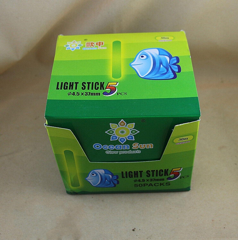 WellieSTR 250 Stück (50 Beutel) 4,5 x 37 mm Schwimmer Glow Stick Nachtangeln grün Fluoreszierendes Licht