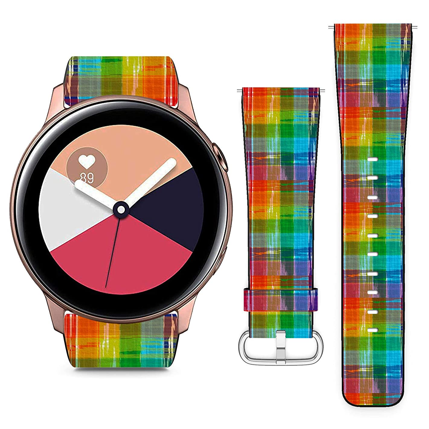 Compatible with Samsung Galaxy Watch Active // 20mm Leather Replacement Bracelet Strap Wristband with Quick Release Pins // Rainbow Colorful
