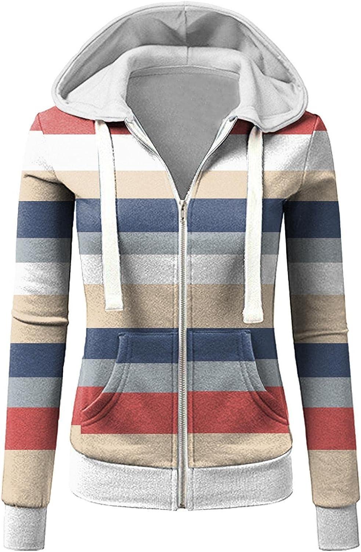 Womens Hoodies,Women Hoodies with Zipper Plus Size Aesthetic Lightweight with Pockets Stripe Graphic Sweatshirt