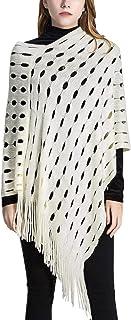 Feoya Ladies Fashion Hole Solid Color Warm Tassel Pullover Warm Shawl for Winter