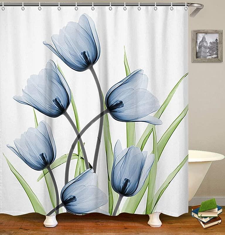 LIVILAN Floral Shower Curtain Set With 12 Hooks Fabric Bathroom Curtain Waterproof Bathroom Curtains Decorative Curtain Light Blue 72 X72