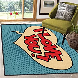 I Love You Natural Fiber Area Rug,Pop Style Comic Strip Valentines Bubble Artistic Cartoon Graphic Durable and Resistant to Soiling Petrol Blue Red Ivory 67