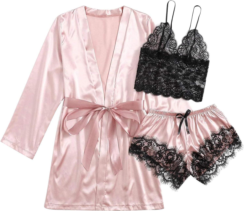 Pajama Set for Women, Women Pajamas Sets Lace Cami Top Lingerie Sleepwear with Robe Sexy Nightwear Lounge Set Nightgown