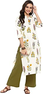 Janasya Women's Cream Cotton Kurta With Palazzo
