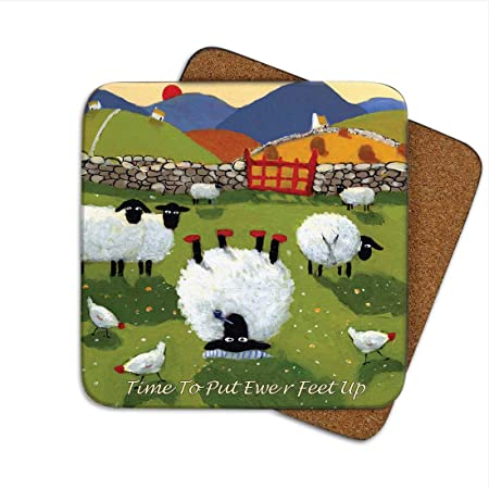 Ewe Ll Never Walk Alone Coaster By Thomas Joseph Funny Sheep Amazon Co Uk Kitchen Home