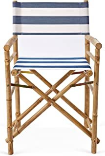 Zew Hand Crafted Foldable Bamboo Director's Chair with Treated Comfortable Striped Canvas, Set of 2 Folding Chairs, Navy/White
