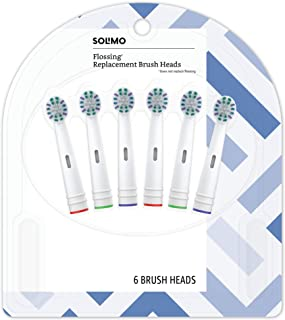 Amazon Brand - Solimo Flossing Replacement Brush Heads, 6 Count (Fits Most Oral-B Electric Toothbrushes)