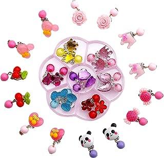 Comius Sharp Kinder Ohrringe Klips, 14 Paare Clip-on Mädchen Ohrringe Mädchen Spiel Ohrringe Prinzessin Klipp Ohrring Set für Party Gefallen Verpackt (Panda)