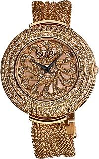 Burgi Womens Quartz Watch, Analog Display and Stainless Steel Strap