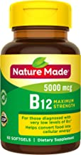 Nature Made Maximum Strength Vitamin B12 5000 mcg Softgels, 60 Count (Packaging May Vary)